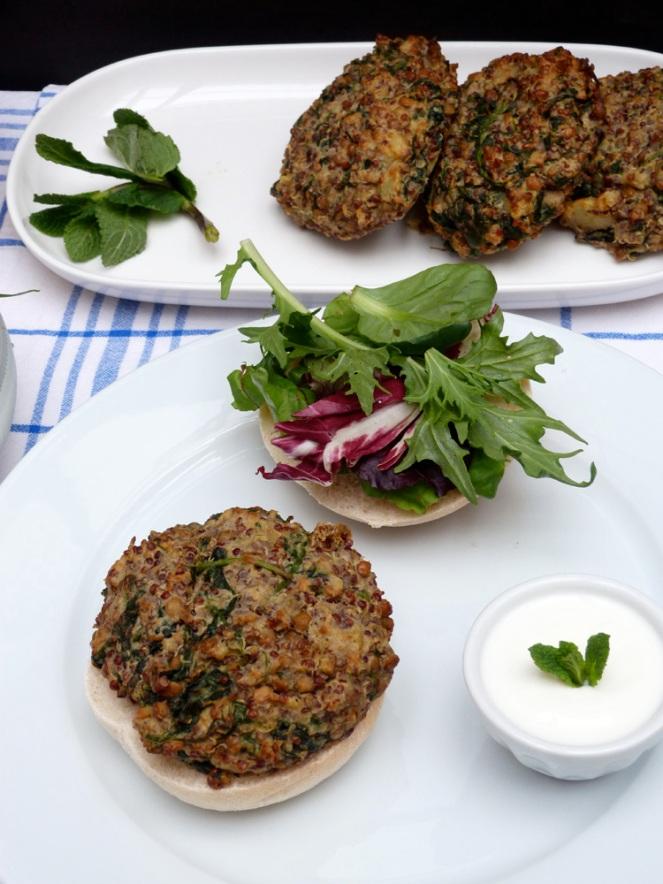 hamburgueses vegetals amb llenties i quinoa